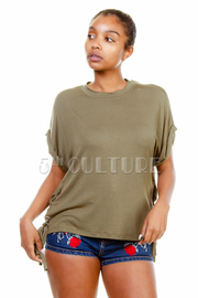 Tie Side Jersey Loose Top