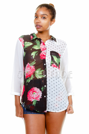 Floral Dotted Combo Shirt