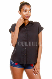 Casual Solid Hi Lo Blouse