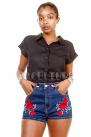 Roses Patch Mini Denim Shorts