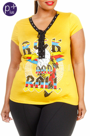 Plus Size V-neck Rocker Eyelet Space Graphic Tee