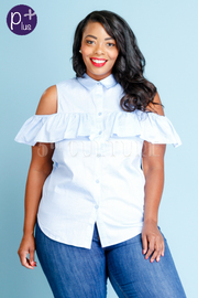 Plus Size Open Shoulder Ruffle Striped Button Down Top