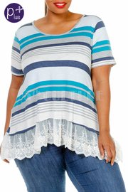 Plus Size Pretty In Striped Crochet Hemline Top