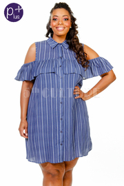 Plus Size Cold Shoulder Ruffle Button Down Tunic Dress