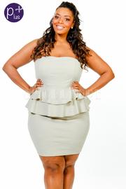 Plus Size Strapless Ruffle Layer Peplum Tube Dress