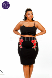 Plus Size Floral Patch Mini Skirt