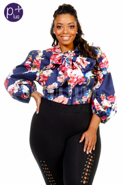 Plus Size Bubble Floral Cropped Tie Top