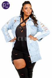 Plus Size Classic Distressed Denim Button Down Jacket