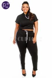 Plus Size Yoga 2-Piece Sporty Cropped Hoodie Pants Set