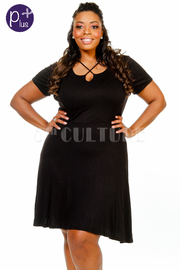 Plus Size Short Sleeved Criss Cross Flared Dress
