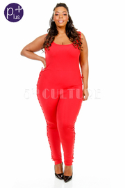 Plus Size Tie Up Sided Jogger Jumpsuit