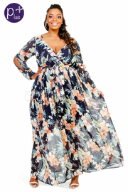 Plus Size Spring Floral Surplice Maxi Sheer Dress
