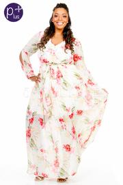Plus Size Spring Floral Surplice Maxi Sheer Dress