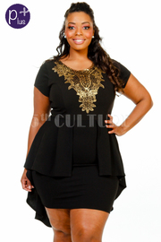 Plus Size Metallic Brocade Peplum Tail Mini Dress