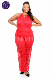 Plus Size All Over Laced Keyhole Gothic Jumpsuit