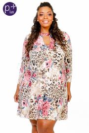 Plus Size Keyhole Classic Leopard Floral Tunic Dress