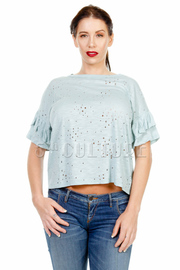 Ripped Hole Short Sleeved Top