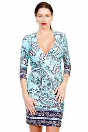 Surplice Printed Midi Dress