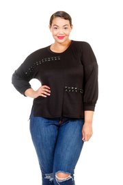Plus Size 3/4 Sleeved Terry French Eyelet Tie Top