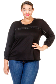Plus Size Across Chest Eyelet 3/4 Sleeved Top