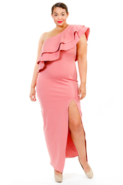 Plus Size One Shoulder Ruffled Night Out Slit Maxi Dress