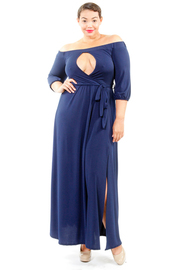 Plus Size Front Slit 3/4 Sleeved Maxi Tie Dress