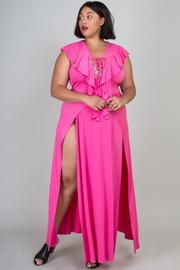 Plus Size Double Slit Maxi Criss Cross Straps Ruffle Dress