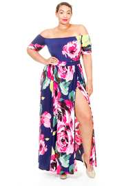 Plus Size Off Shoulder Floral Summer Romper Maxi Dress