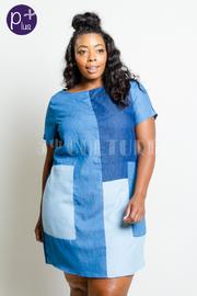 Plus Size Colorblock Trendy Denim Tunic Dress