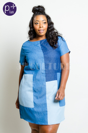 Plus Size Colorblock Trendy Denim Tunic Dress
