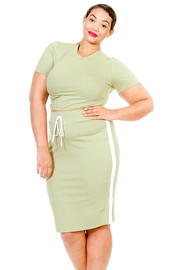 Plus Size Sporty 2-Piece Midi Skirt Cropped Set
