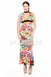 Keyhole Floral Striped Maxi Summer Dress
