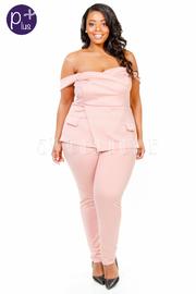 Plus Size Strapless Pocket Peplum Jumpsuit