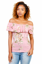 Off Shoulder Spring Floral Flounce Top