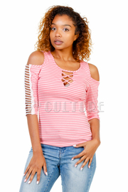 Sliced Cold Shoulder Striped Top