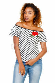 Off Shoulder Striped Rose Patch Top