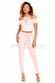 Casual 2-Piece Mesh Pants Cropped Set