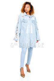 Distressed Denim Long Button Down Jacket