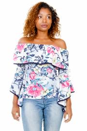 Off Shoulder Floral Long Sleeved Top
