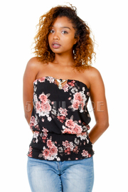 Strapless Cute Floral Smocked Top