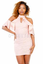 Keyhole Open Shoulder Flounce Lacey Dress
