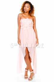Spring Flowers Sweet Maxi Sheer Strapless Dress