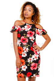 Open Shoulder Sexy Floral Fit Dress