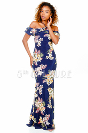 Sexy Tube Floral Open Shoulder Maxi Dress