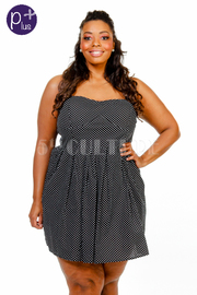 Plus Size Small Polka Dot Flirty Flared Dress