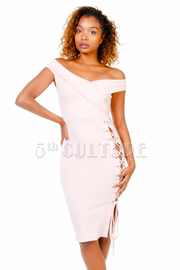 Off Shoulder Sexy Tie Up Side Tube Dress