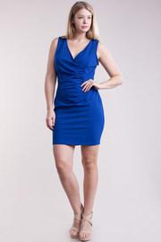 Plus Size Surplice Ruched Tube Dress