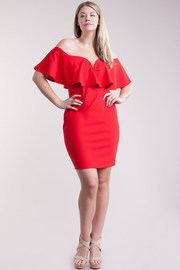 Plus Size V-neck Cut Wired Flounce Tube Dress