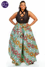 Plus Size Dashiki Pattern Circle Scuba Maxi Skirt