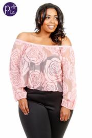 Plus Size Off Shoulder Roses  Mesh Crop Top